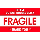 "Tape Logic DL2159 Pressure Sensitive Label, Legend ""PLEASE DO NOT DOUBLE STACK FRAGILE THANK YOU"", 5"" Length x 3"" Width, White/Red (Roll of 500)"