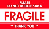 Tape Logic DL2159 Pressure Sensitive Label, Legend''PLEASE DO NOT DOUBLE STACK FRAGILE THANK YOU'', 5'' Length x 3'' Width, White/Red (Roll of 500)