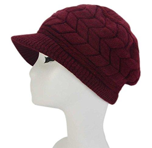 Hat Red Knit Dark (SYAYA Women Winter Warm Knit Hat Wool Snow Ski Caps with Visor DMZ01 (Dark Red))