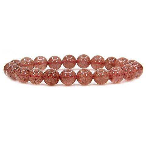 - Natural A Grade Strawberry Quartz Gemstone 8mm Round Beads Stretch Bracelet 7