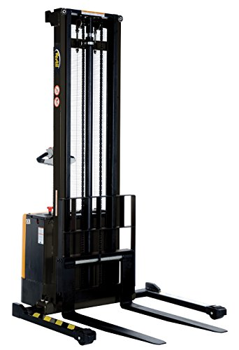 Vestil-S-150-AA-Powered-Drive-and-Powered-Lift-Stacker-with-Adjustable-Forks-and-Support-Legs-2-18-150-Height-Range-42-14-Length-x-26-34-Width-Fork-2000-lbs-Capacity