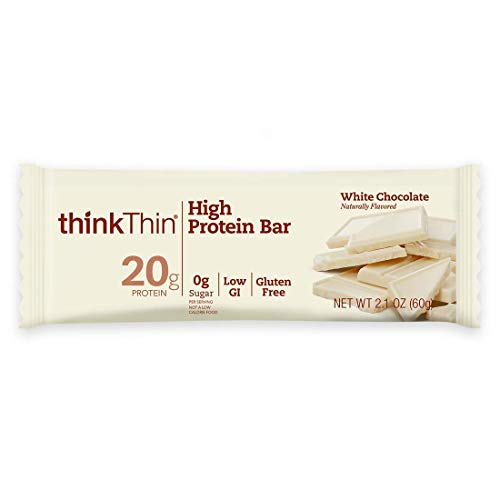 thinkThin High Protein Bars - White Chocolate, 20g Protein, 0g Sugar, No Artificial Sweeteners, Gluten Free, GMO Free*, Best Nutritional Snack/Meal bar, 2.1 oz bar ()