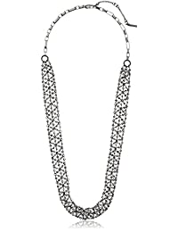 """Kenneth Cole New York""""Stone Cluster Metallic"""" Faceted Bead Hematite Mesh Long Necklace, 32"""" + 4"""" Extender"""