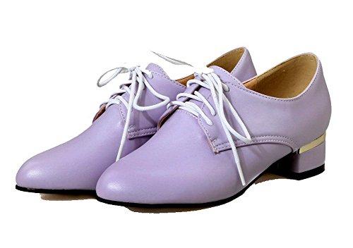 Agoolar Chaussures Métal Femme Lacet Bas À Légeres Violet Talon RxgRrqvw