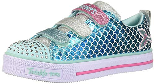 Skechers Kids Girls' Twinkle LITE-Sparkle Scales Sneaker, Turquoise/Multi, 2 Medium US Little Kid