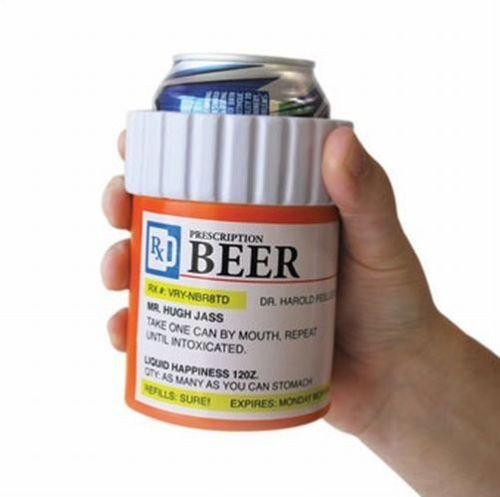 Prescription Beer Can Bottle - Insulated Foam Pill Koozie Cooler Mug Holder