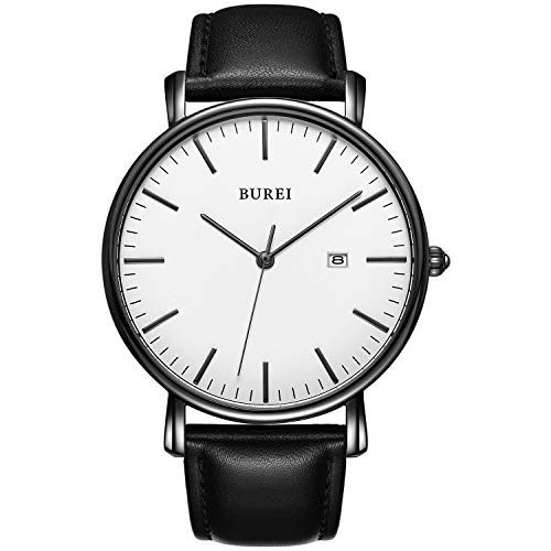 BUREI Men's Fashion Minimalist Wrist Watch Analog White Date with Black Leather Band (White-Black)