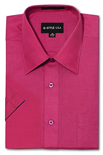 (G-Style USA Men's Regular Fit Short Sleeve Solid Color Dress Shirts - Fuschia - S/14-14.5)