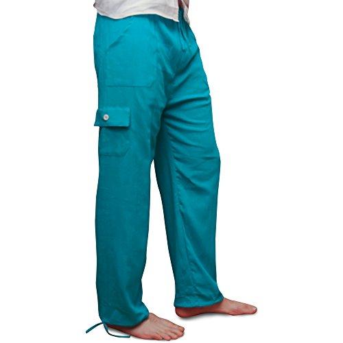 Pantalons, taille cordon e élastiquée. Matière fraîche légère.