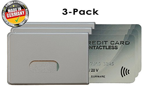 (OPTEXX® RFID/NFC Blocking Sleeve Fred Silver Credit- / Debit Card Protector Id Theft Protection Case with OPTEXX® Protection; Made in Germany)