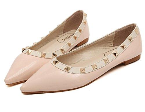Pink Peu Sandales Chaussures loup Rivets La Profondes Bouche Xdgg Femmes Plates À Anti qZ0nZa7W
