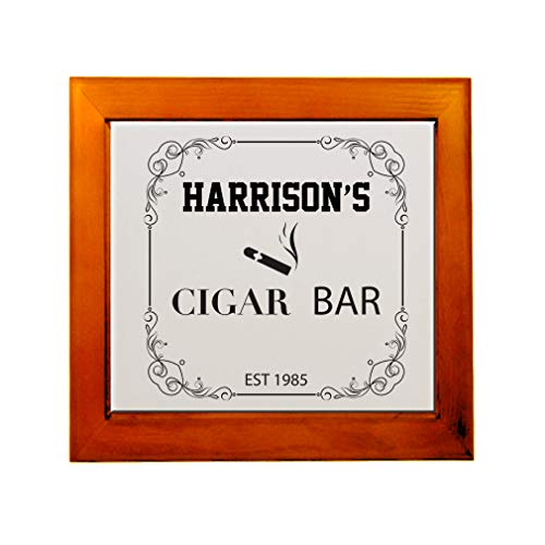 Personalized Custom Text Store Sign Cigar bar Ceramic Tile in Wood Frame