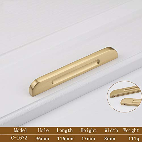 C1672 American Style Brass Handle OneShaped Handle Wardrobe Kitchen Cabinet Handle Drawer Pulls Simple Furniture Handle  (color  C1672)