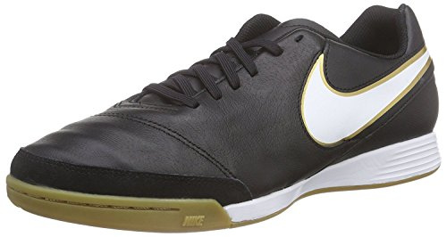 Nike Mens Tiempo II Leather IC Black/White/Metallic Gold Indoor Soccer Shoe 6.5 Men US (Nike Black And White Indoor Soccer Shoes)