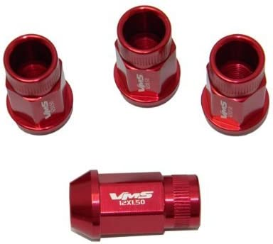 VMS Racing 20PC Piece RED Open End Lightweight Aluminum Racing LUG NUTS Thread Size 12x1.5mm Compatible with Chevy Chevrolet Corvette C4 C5 C6 C7