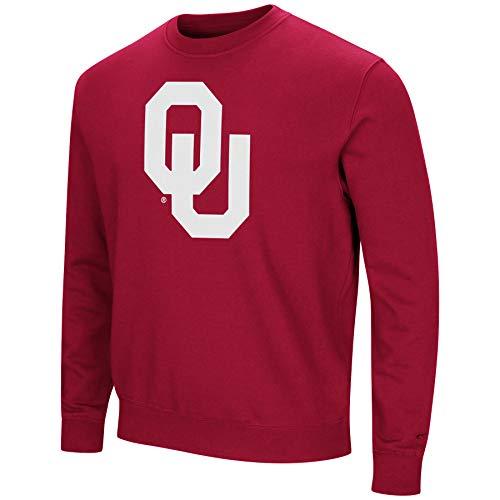 Colosseum NCAA Men's -Playbook- Crewneck Fleece Sweatshirt Tackle Twill Embroidered Lettering-Oklahoma Sooners-Crimson-Large
