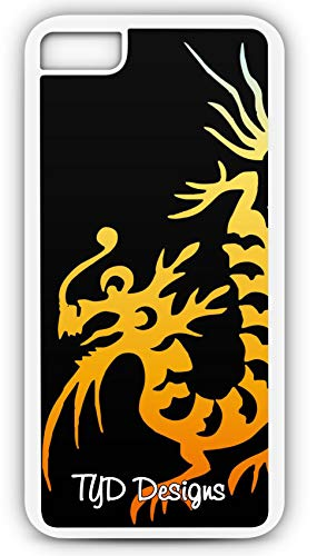 - iPhone 8 Case Chinese Dragon Tattoo Orange Flame Gradient Customizable by TYD Designs in White Plastic
