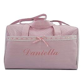 bolso bordado con nombre del bebé rosa