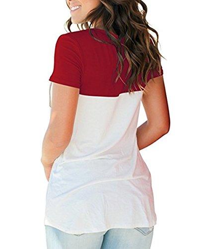 Damen T-Shirts Sommer Basic V-Ausschnitt Farbblock Casual Kurzarm Oberteil  Bluse Oberteile Top Hemd T-Shirts mit Tasche  Amazon.de  Bekleidung c0d462703a