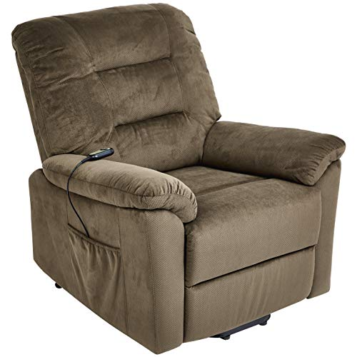 JC Home Olbia Power-Lift Recliner Chair with Fabric Upholstery, Milk - Collection Chair Medium Lift