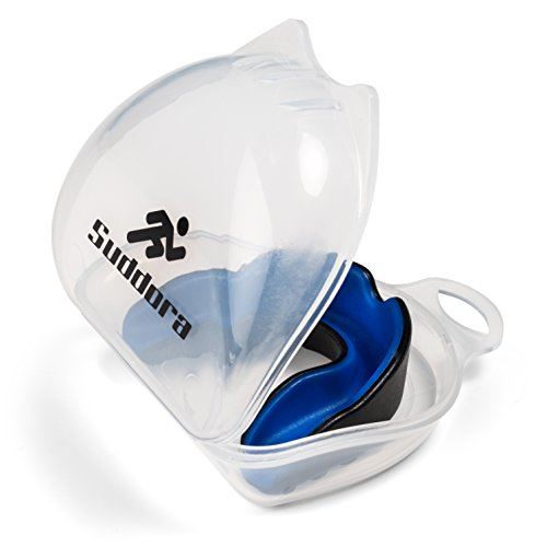 Suddora Two Tone Mouthguard with Carry Case - Multi-sport Gum Shield (Black with Blue Inside)