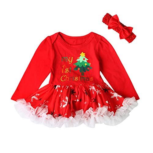GSusan 2PCS de Noël Nouveau-né Bébé Barboteuse Set de Vêtements pour Fête - Barboteuse Bandeau de Cheveux - Cadeau Parfait - Rouge
