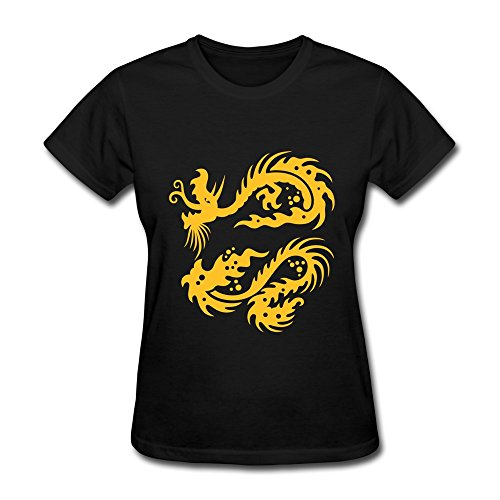 Vansty Dragon Abstract Short Sleeves Shirt For Lady Black Size L