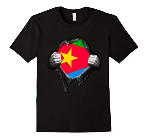 Men's Eritrea National Flag T Shirt. Proud Eritrean Soccer Fan Large Black (Eritrea Flag)