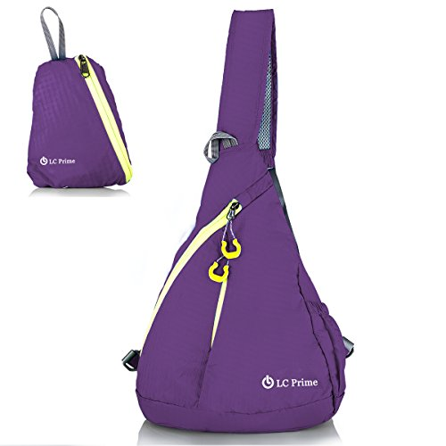 LC Prime Sling Bag Chest Bag Unbalance Backpack Sack Shoulder Messenger Pouch Haversack Rucksack Chest Crossbody Backpack Pack for Travel Outdoor Foldable Nylon Purple