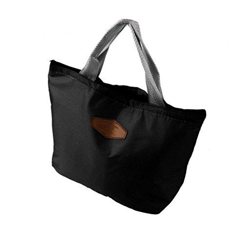 Élégant Isotherme TiaQ Repas Sac Lunch Style Noir à Pochette Femme Noir Sac Déjeuner à Sac Main avec Bag z0t0rUw