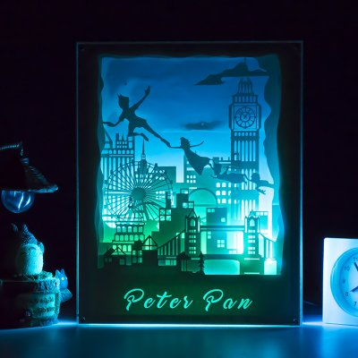 LED Night Light Desk Lamp Mural Wall Décor Table Frame Light Wireless Remote Control with 3D Paper Caving Design (Peter Pan)