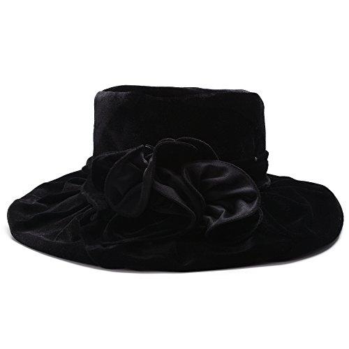Lawliet Womens Kentucky Derby Formal Wide Brim Church Dress Wedding Velvet Hat A389 (Black)
