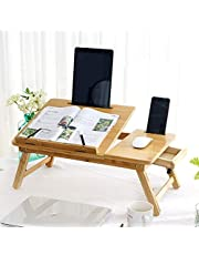 XYXK LAPTOP STAND Laptop Bed Desk Bamboo Adjustable Breakfast Bed Tray Notebook Table Dorm Desk with Drawer Foldable Computer Stand for Sofa Couch Floor (Size : L55*W34cm) Fold Stand