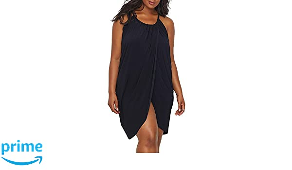 5cd4dc09b3c52 Amazon.com: Magicsuit Women's Plus Size Draped Cover-Up Black 2X: Clothing