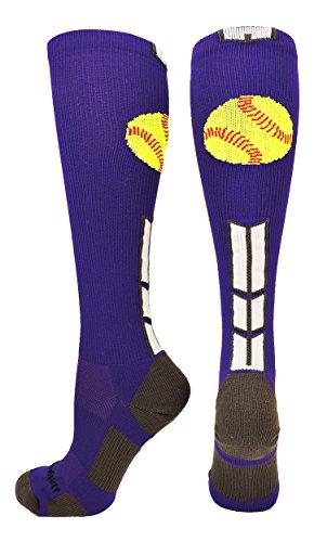 Over Logo Tall Socks (Softball Logo Over the Calf Socks (Purple/White/Graphite, Small))