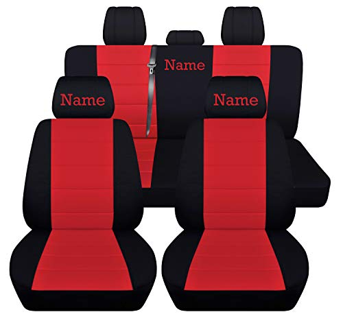 Fits 2012 to 2018 Dodge Ram Front and Rear Ram Seat Covers 22 Color Options (Solid Rear Bench, Black Red)