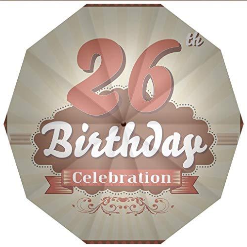 - Sun umbrella, umbrellaUV Protection Auto Open Close 26th Birthday Decorations,Vintage Stylized Pop Art Style Anniversary Artsy Old Windproof - Waterproof - Men - Women -Lightweight- 45 inches