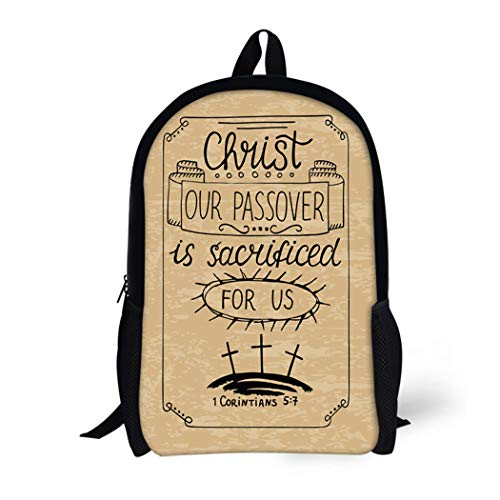 Pinbeam Backpack Travel Daypack Christ Our Passover Was Crucified for Us Biblical Waterproof School Bag - Golgotha Cross
