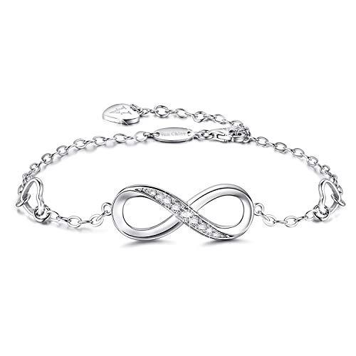 (Van Chloe Women 925 Sterling Silver Bracelet Infinity Love Diamond Adjustable Bracelet Teens Girls Women Jewelry Gifts for Mother's Day)