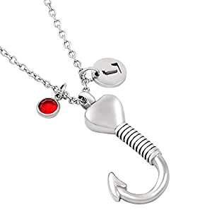 Personalized fish hook memorial ash urn necklace stainless for Fish urn necklace