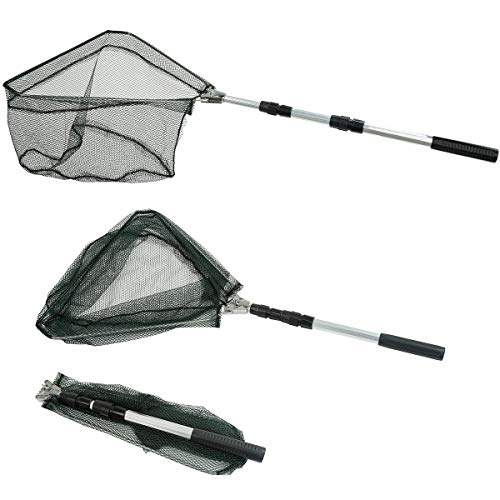 RESTCLOUD Fishing Landing Net with Telescoping Pole Handle Extends to 50 Inches