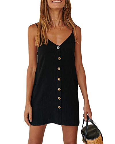 Imysty Womens Polka Dot V Neck Button Down Ruffles Loose Mini Short T-Shirt Dress (X-Large, Z3-Black) (Best Clothing Stores For Short Women)