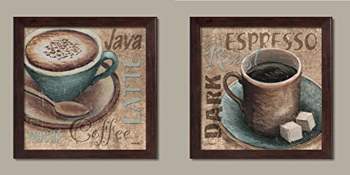 Popular Classic Coffee Espresso Java Dark Roast Signs; Kitchen Décor, Two 12x12in Brown Framed Prints; Ready to hang! (Java Kitchen)