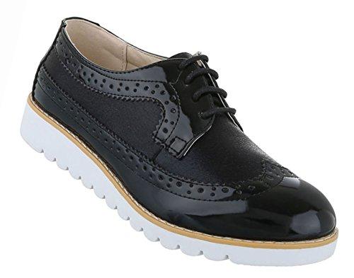 Damen Schuhe Halbschuhe Business Schnürer Schwarz Schwarz