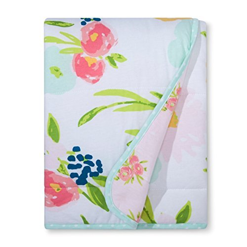 Floral Jersey Knit Reversible Baby Blanket by Cloud Island - Pink Flowers