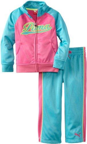 PUMA Little Girls' Toddler Raglan Colorblock Tricot Set, Blue/Pink, 4T by PUMA
