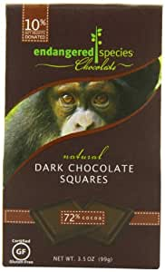 Endangered Species Chimp, Natural Dark Chocolate (72%), 10-Count Individually Wrapped Pieces (Pack of 6)