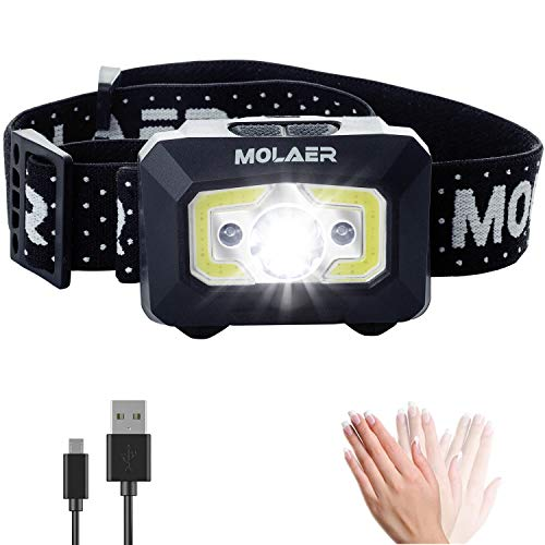 (Rechargeable Headlamp, MOLAER LED Head Lamp Flashlight 550 Lumens with Red Safety Light and Motion Sensor Switch, 5 Lighting Modes IPX5 Waterproof Headlight Great for Running, Camping, Hiking,)
