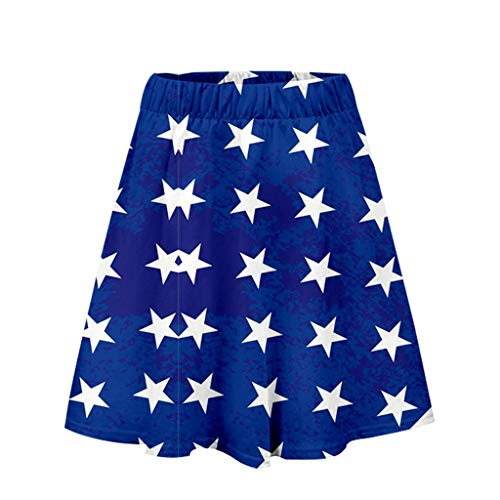 POQOQ July 4 Dress Women Skirt Independence Day Print Casual Pleated Skirt Blue -