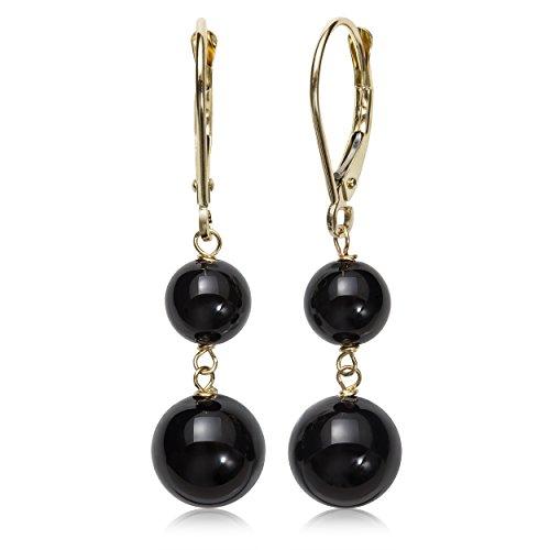 14k Yellow Gold Genuine Black Onyx Lever-Back Drop Dangle Earrings (Wire Onyx Earrings Dangle)